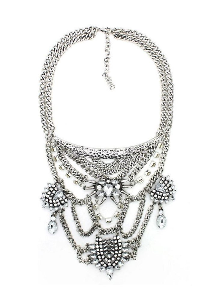 Silver Statement Necklace, Crystal Party Necklace, Fashion Necklace | eBay - buy now