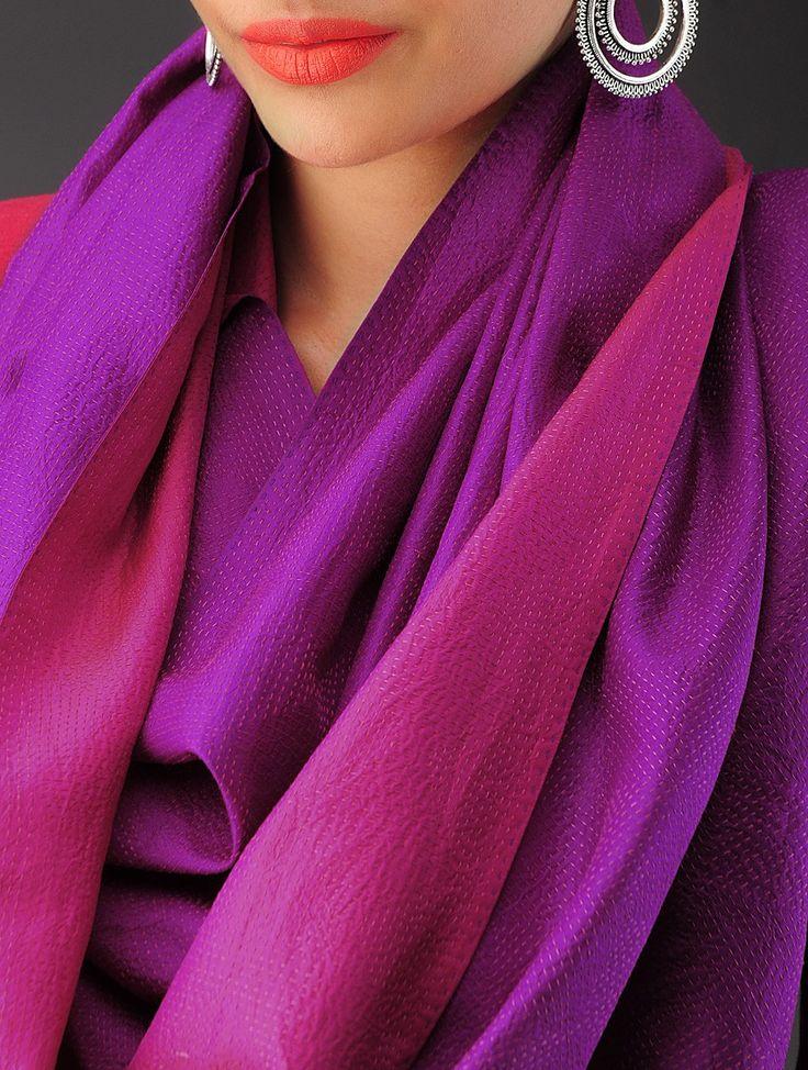 Violet-Pink Silk Kantha Embroidered Stole