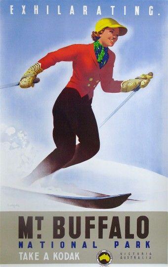 Vintage Poster. Exhilarating Mt Buffalo, Victoria, Australia