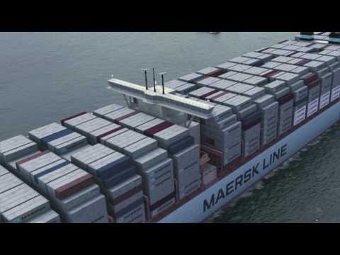 Maersk Line Triple-E: The largest, most efficient ship in the world | Maersk Line's new Triple-E class will be the world's largest ships, a record 400 meters long and 59 meters wide. Triple E stands for Energy efficiency, Environmental performance and Economies of scale. (21/02/11) || Place >