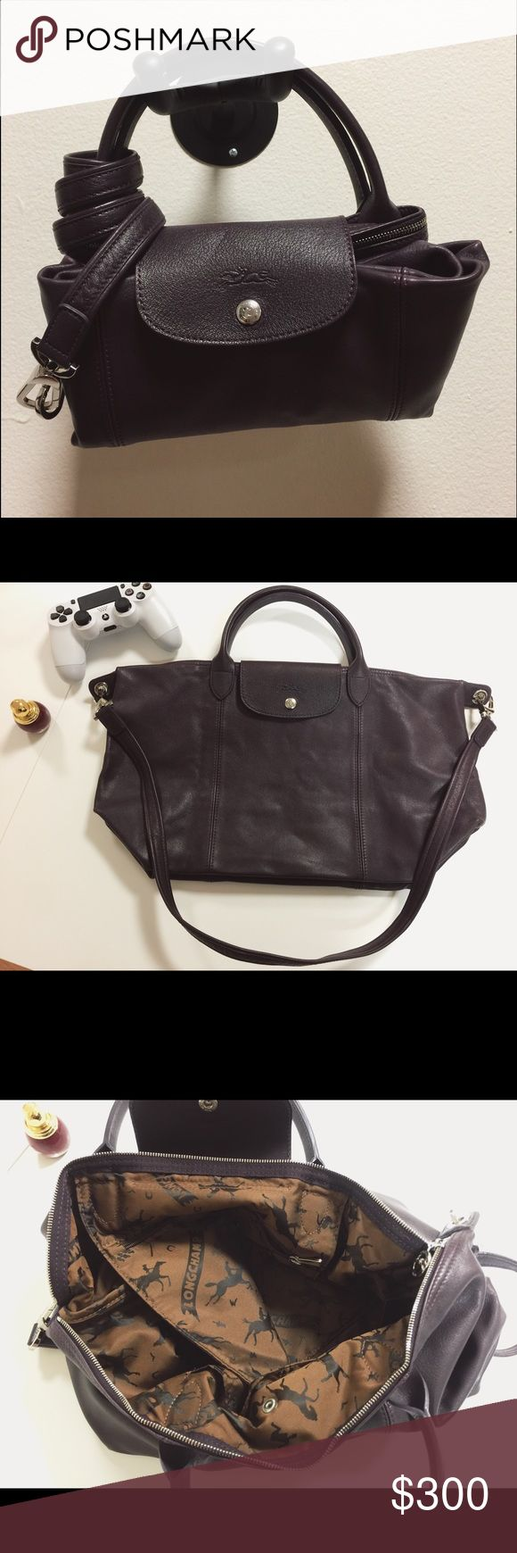 Longchamp Le Pliage Cuir Leather handbag Size small, color bilberry, leather, slightly used, with cross body strap Longchamp Bags Crossbody Bags