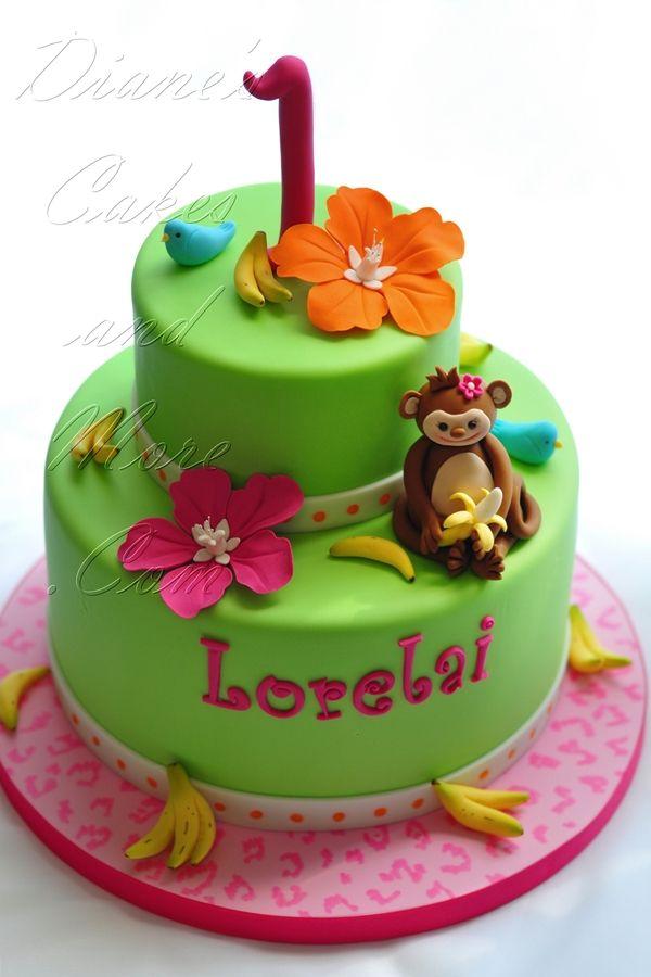 Monkey Birthday Cake--modify for a boy bday!