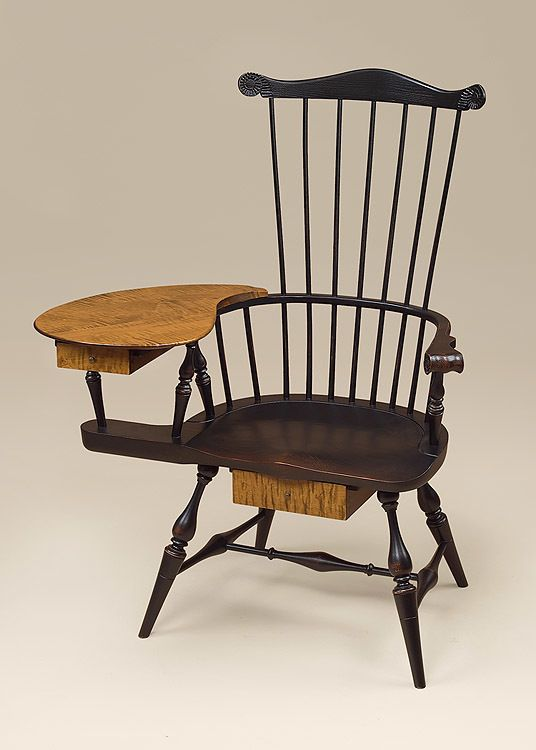 Historical Fan Back Windsor Arm Chair In A Painted Finish And Tiger Maple
