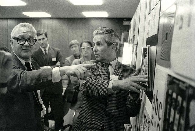 Paul Rand pointing, Josef Müller-Brockmann holding photograph, IBM design seminar