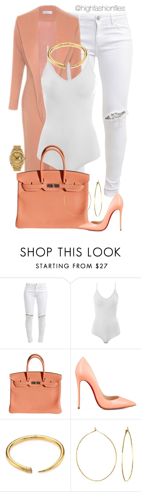 """""""Georgia Peach"""" by highfashionfiles ❤ liked on Polyvore featuring FiveUnits, Intimissimi, Hermès, Christian Louboutin, Michael Kors, Rolex and Phyllis + Rosie"""