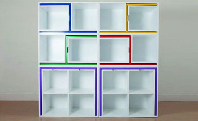 Modular Bookcase that Hides Chairs/Tables