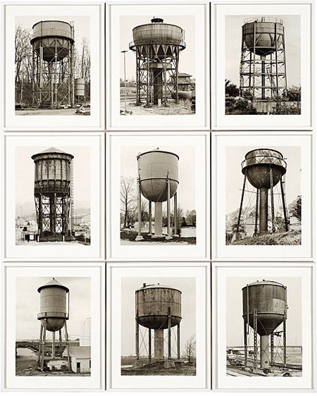 Bernhard and Hilla Becher  Watertowers 1980 Nine Black and White Photographs