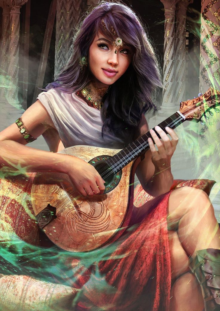 Tags: Fantasy art, female character, muse, seer MZLowe Author verified link on 10/12/2017 Source: Artist's page on ArtStation.com Artist: Guilherme Batista Title: Jade, the Bard