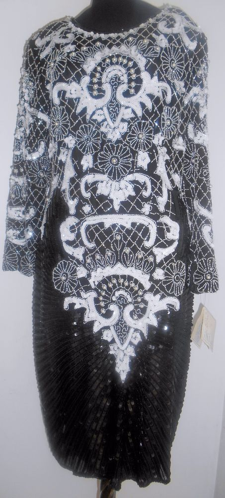 SWEELO SWEE LO Vintage Shift Dress Embroider Sequin SOLD! Beads Silk Black White 6 8