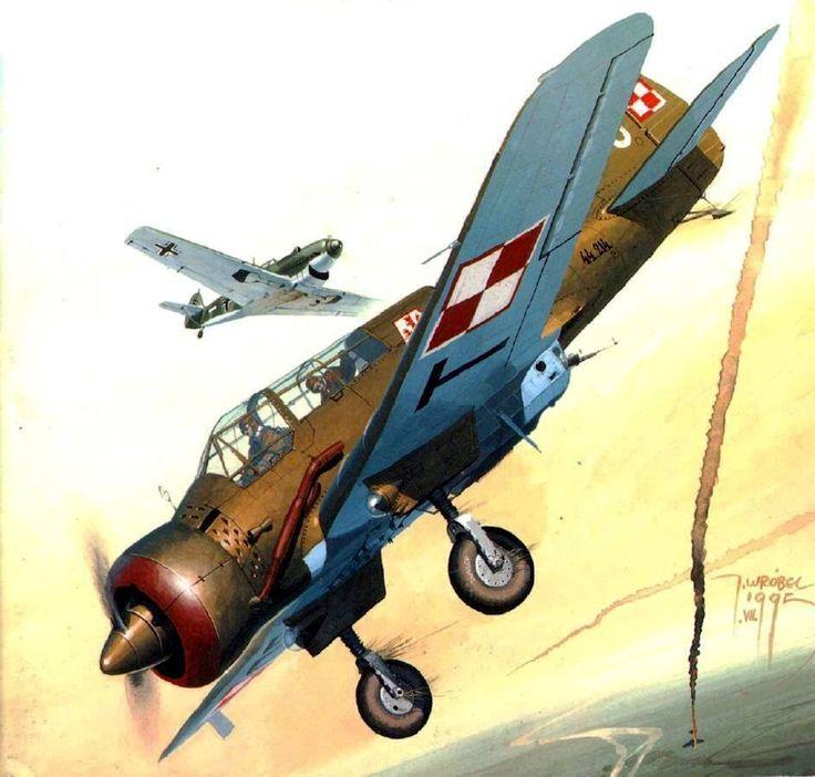 PZL.23 Karaś – polski lekki samolot bombowy. Rys. Jaroslaw Wróbel.