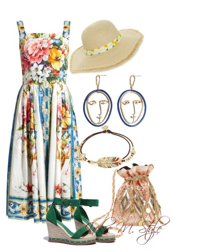 """""""Summer Flowers"""" by jackie-mallet ❤ liked on Polyvore featuring Dolce&Gabbana, Miss Selfridge, MANGO, Gas Bijoux and BP."""