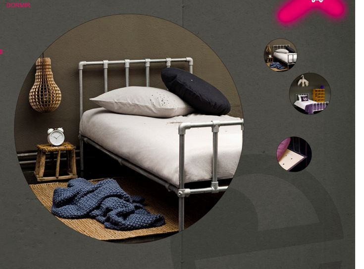 A children's twin bed made from Kee Klamp pipe fittings and pipe. I am totally gonna make this bed for Sebas