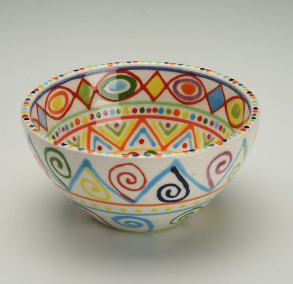 Bowl Multicolor Dinnerware Hand Painted by owlcreekceramics