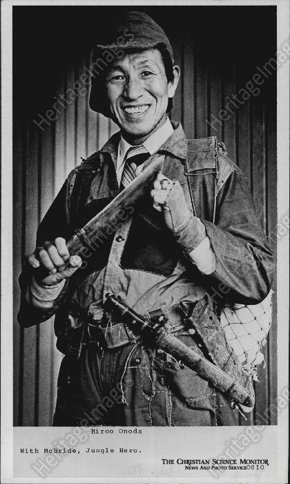 1975 HIROO ONODA Japanese WWII Army Lt Big Knife & Smile Press Photo