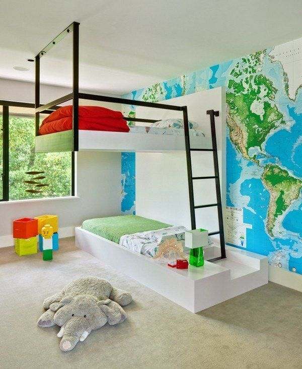 cool bunk beds design modern kids room decorating ideas world map wall decoration