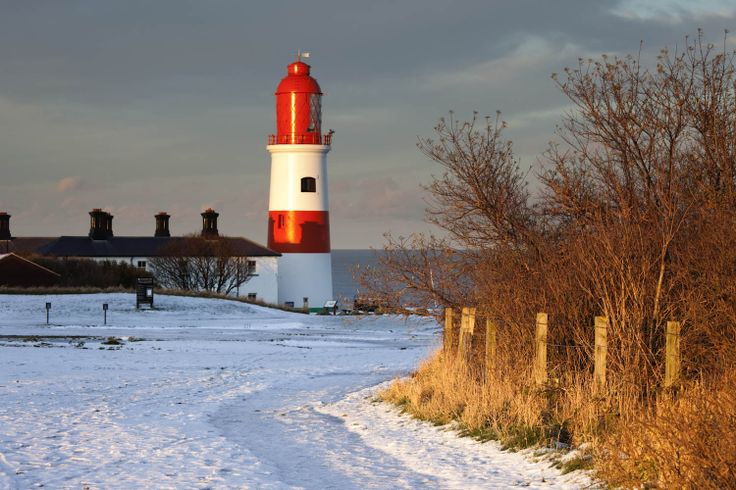 Snowy pathway to Souter Lighthouse.