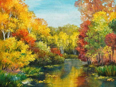 paisajes verdes: pintura al óleo sobre lienzo - colorido bosque de otoño…