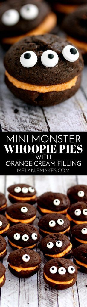 Look no further for the perfect Halloween classroom party or get together treat! These Mini Monster Chocolate Whoopie Pies with Orange Cream Filling couldn't be easier to create. No one would ever guess that the secret ingredient for both the cake and fro