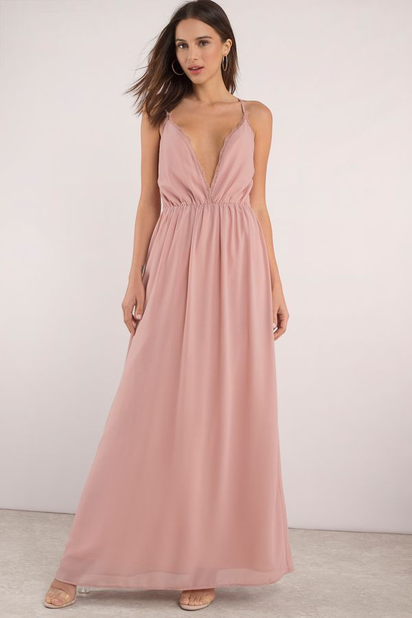 b67db785bd31 Designed by Tobi. Need a new maxi? Get the Abegayle Plunging Maxi Dress.  Featuring a plunging neckline and lace trim. Pair with heels and statement  # ...