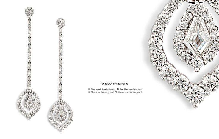 Orecchini Drops - Diamonds fancy cut, Brillants and white gold - Diamanti taglio fancy, Brillanti e oro bianco #jewelry #gioielli #luxury #madeinitaly #classic