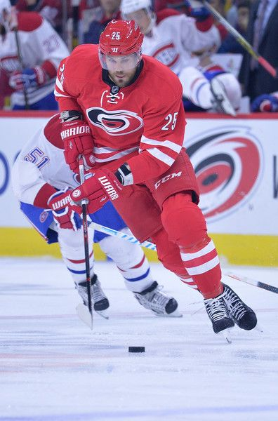 Viktor Stalberg Photos Photos - Viktor Stalberg #25 of the Carolina Hurricanes controls the puck against the Montreal Canadiens during the game at PNC Arena on November 18, 2016 in Raleigh, North Carolina. - Montreal Canadiens v Carolina Hurricanes