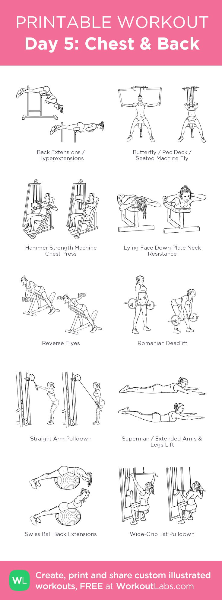 Day 5: Chest & Back - my visual workout created at WorkoutLabs.com • Click through to customize and download as a FREE PDF! #customworkout