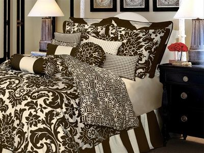 Dylan By Rose Tree, The elegance of a luxurious formal damask print will add a classic designer look to your bedroom suite. Symphony bedding by Rose Tree has a striking combination of pearl white on a chocolate brown ground reversing to an architectural