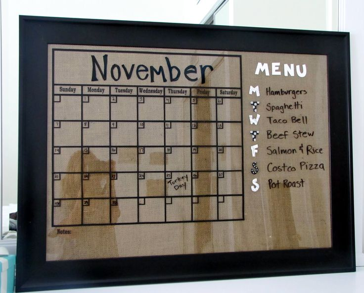 Diy Kitchen Calendar : Burlap framed kitchen calendar and menu diy project