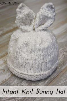 Little Miss Stitcher: Infant Knit Bunny Hat Free Pattern