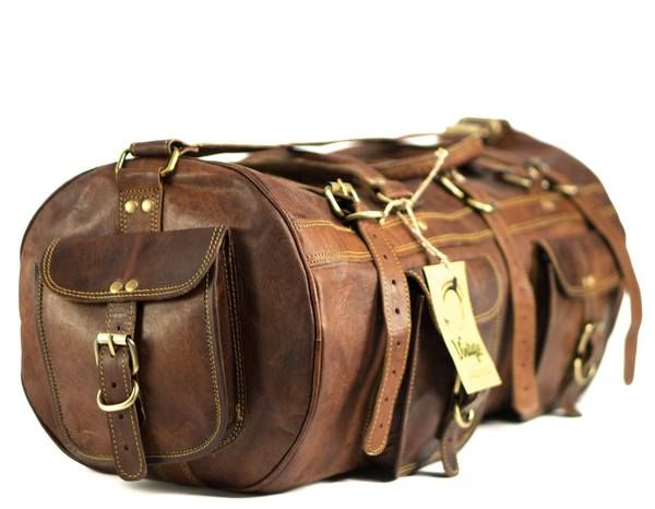 This amazing vintage leather duffle bag is perfect to go with you on all of your adventures. Made of authentic goat leather, it's hardy enough to stand up to tr