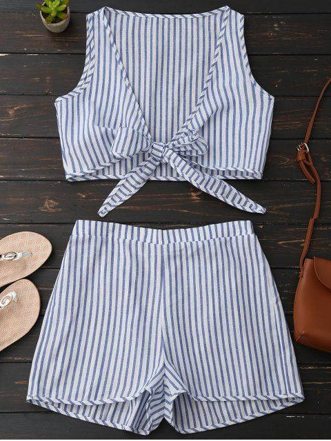 Plunge Striped Front Tied Top with Shorts - BLUE STRIPE XL