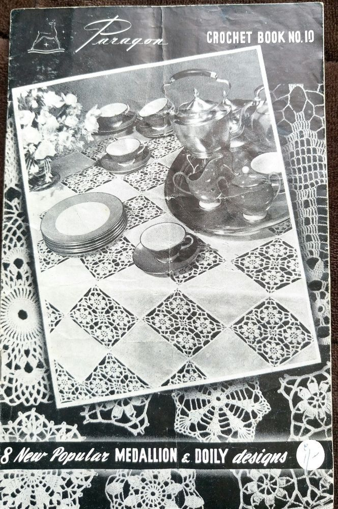 Paragon 10 Vintage Crochet Pattern Book Doily Tray Cloth Paragon