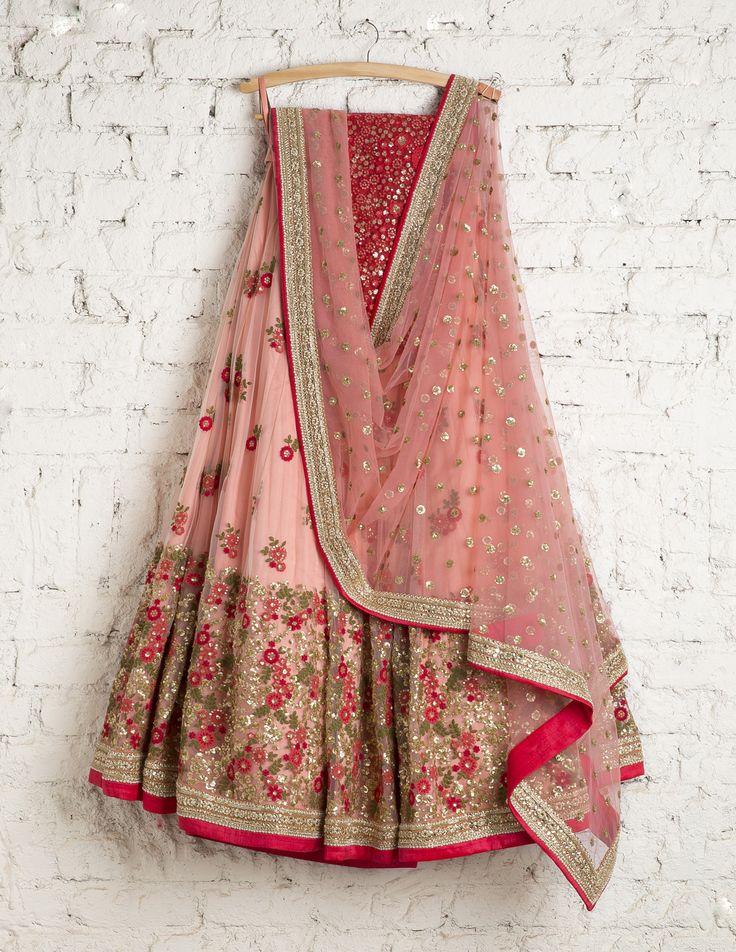 SwatiManish Lehengas | SMF LEH 102 17 | Cotton candy heavy daman lehenga with coral thread work blouse (SOLD)