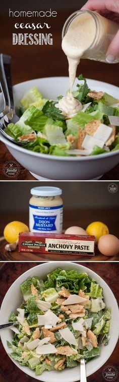 My family loves Ceasar Salad, and making my own Homemade Ceasar Dressing from scratch with anchovy paste, egg yolk, lemon and olive oil was incredibly easy!