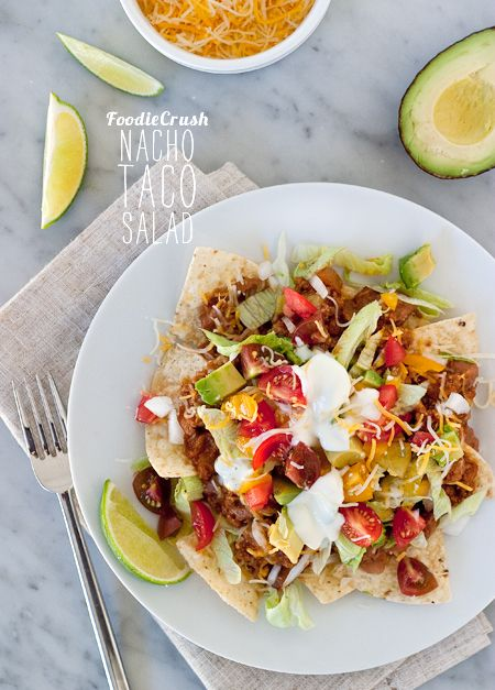 Nacho taco salad...meat made with V8 in the sauce for a hidden serving of vegetables  {Foodie Crush}