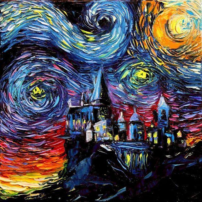 Las Mil Y Una Noches Estrelladas De Van Gogh De Aja Kusick Milyunanoches Lanocheestrellada Vangogh Pintura Ajak Artistas Pintura De Harry Potter Pinturas
