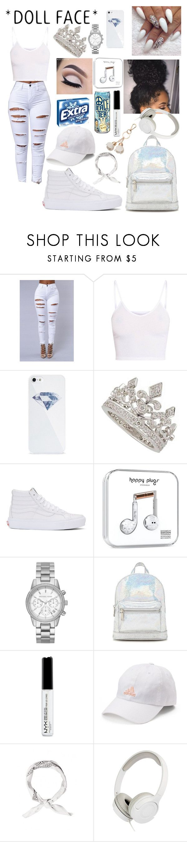 """""""White on White❕❔❕"""" by majesticqveenn ❤ liked on Polyvore featuring BlissfulCASE, Vans, Michael Kors, Forever 21, NYX, adidas and LC Lauren Conrad"""