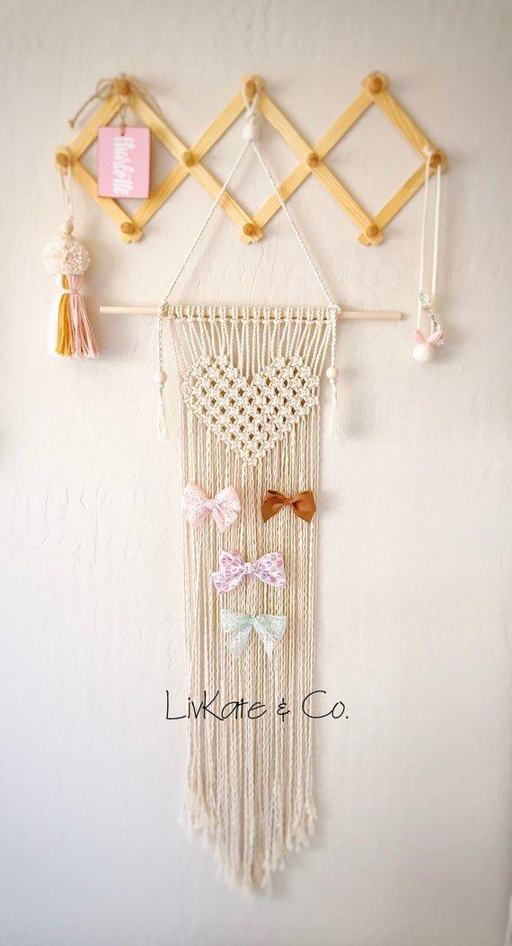 Girls hair bow holder boho wall decor