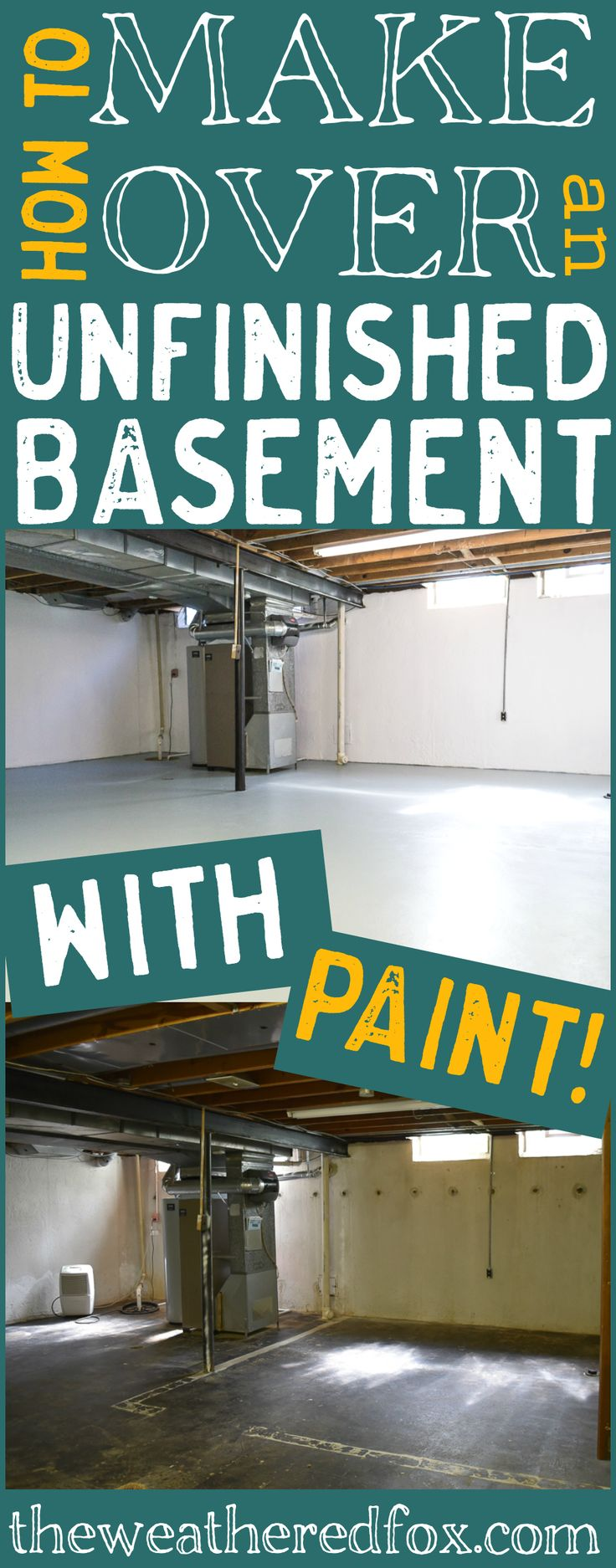 Unfinished basement ideas that sold our house. How to give an unfinished basement a new look with paint.