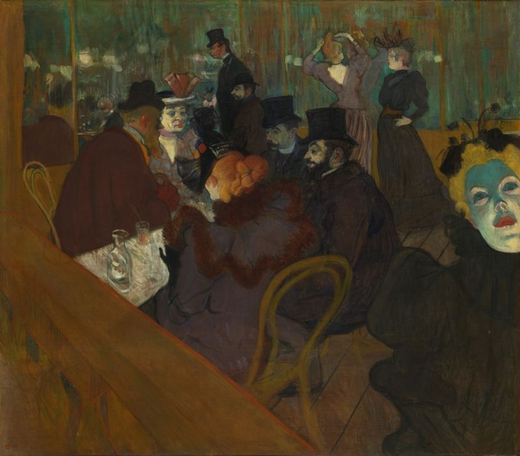 Henri de Toulouse-Lautrec / At the Moulin Rouge / 1892-95 / The artist painted himself into the scene, in the center background...