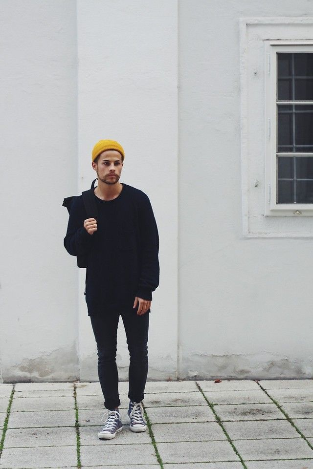 Men's street style, autumnal yellow beanie with all black | The Idle Man