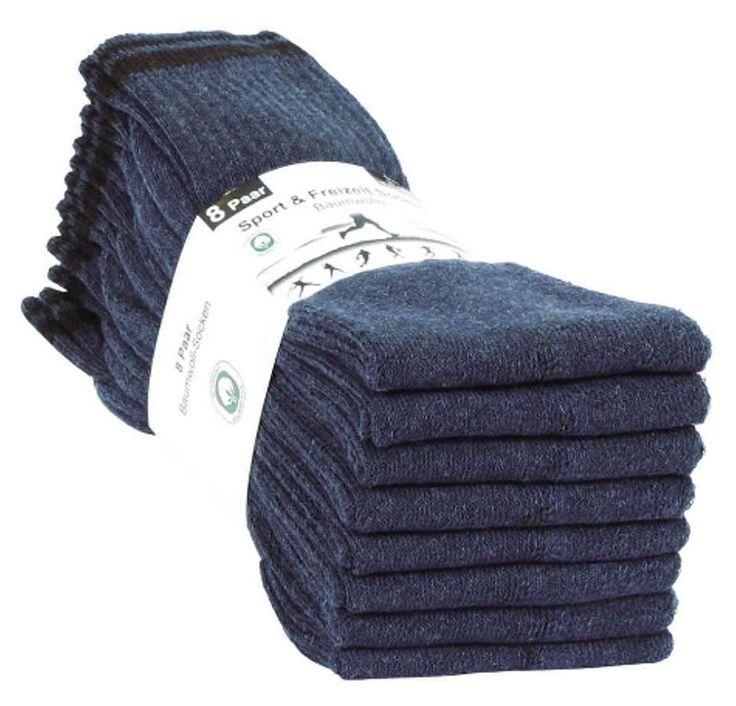 8 Paar Herren Sport & Freizeit Socken 80% Baumwolle 40° Waschbar !