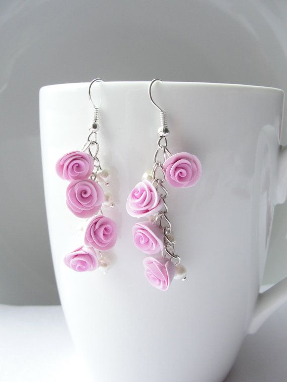 Pink rose and pearl dangly earrings in a vintage by fizzyclaret