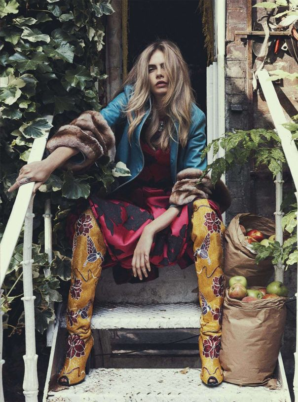 fashion-boots: Cara Delevingne by Benny Horne for Vogue Australia October 2013 Embroidered floral boots by Tom Ford Coat by Prada Dress by Lanvin