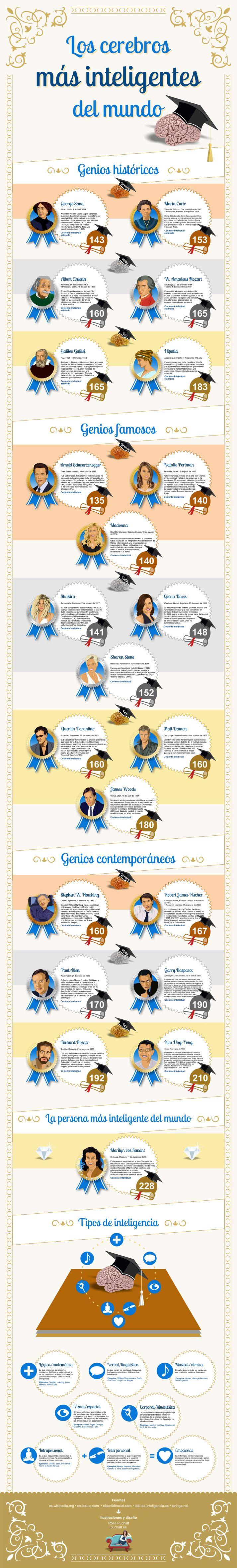 Los cerebros más inteligentes del Mundo #infografia #infographic