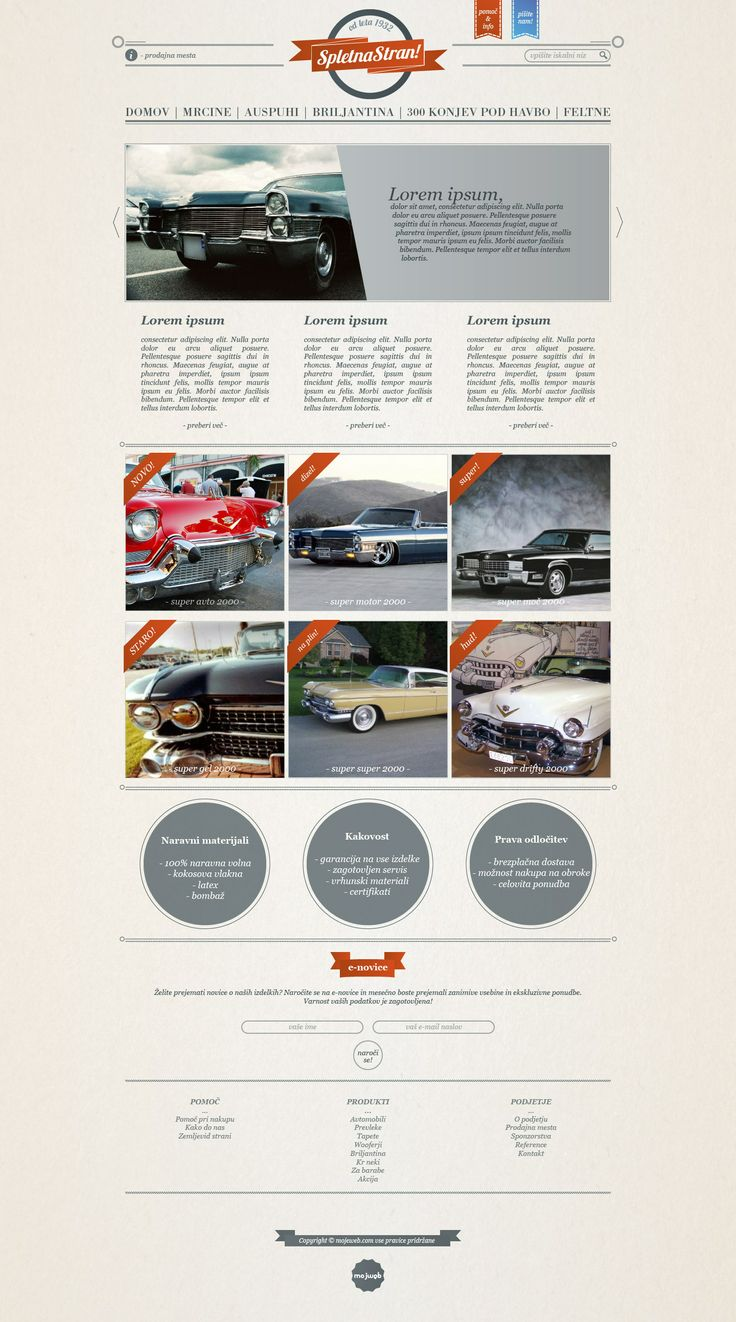 Joomla template - classic cars For more see www.mojeweb.com