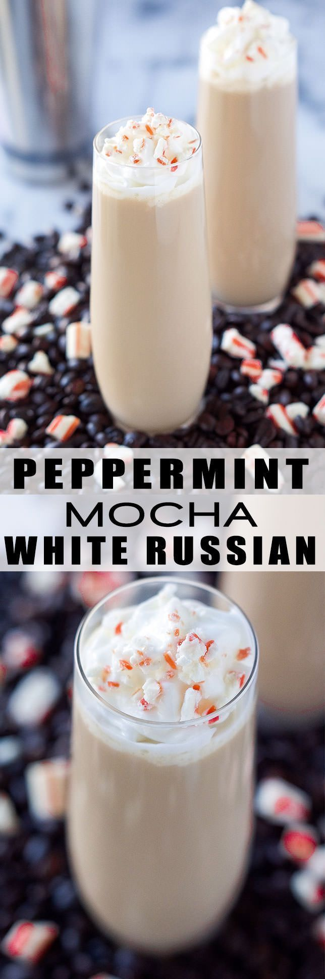 This Peppermint Mocha White Russian is a festive cocktail! The classic drink with a peppermint and chocolate twist! @indelight #wineglasswriter
