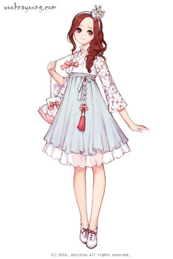 Cherry blossom hanbok 벚꽃 한복 Digital drawing, 2016 #흑요석