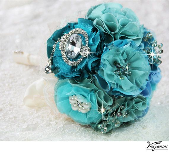 Teal and turquoise wedding bouquet, bridal bouquet, wedding flowers, vintage brooch bouquet, crystal statement brooch