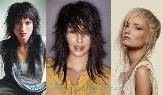 Ступенчатые стрижки для длинных волос с челкой
